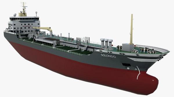 3D chemical tanker solondo vessel ship model