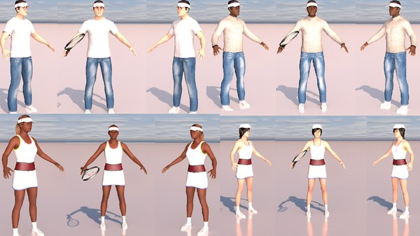 3D pack rigged tennis characters