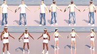 4 rigged tennis players collection