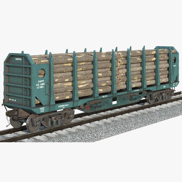 3D model logging car blue