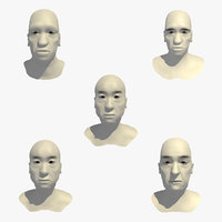 realistic head 70 year 3D model