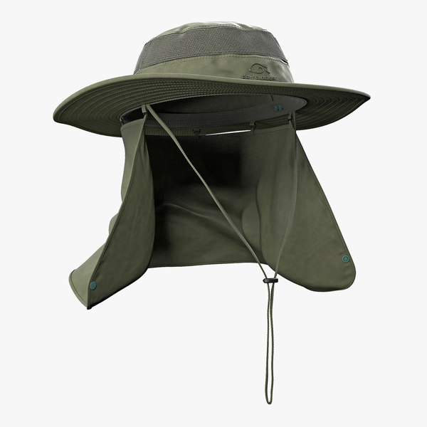 3D model green outdoor fishing hat