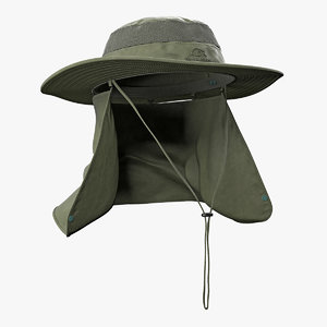 3D model green outdoor fishing hat