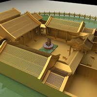 3D chinese courtyard house model