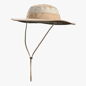 3D khaki outdoor fishing hat model