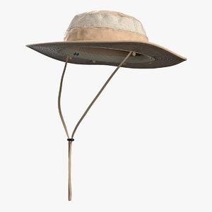 khaki fishing hat 3D model