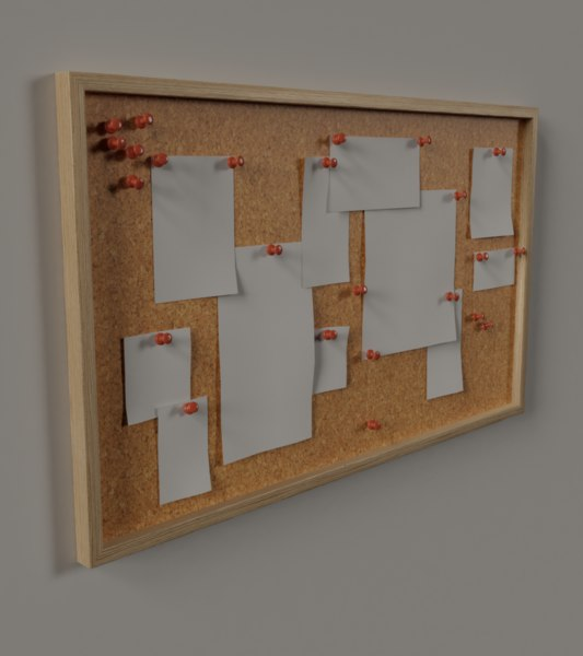 cork pinboard pins 3D model