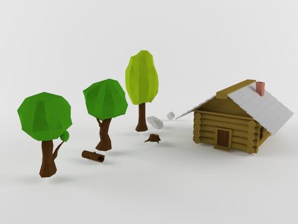 3D trees hut