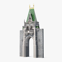 3D model castle entrance clock