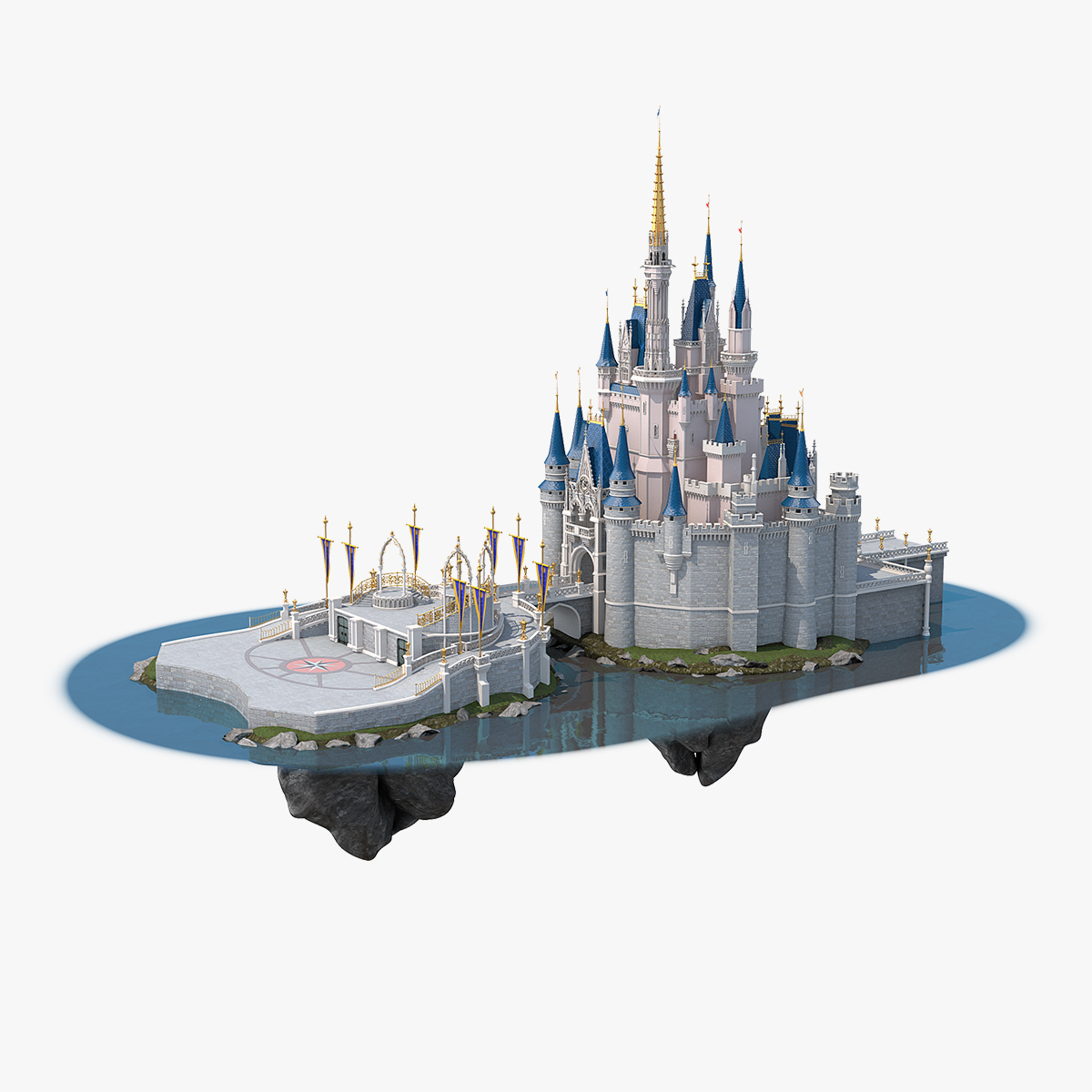 3D disneyland cinderella castle