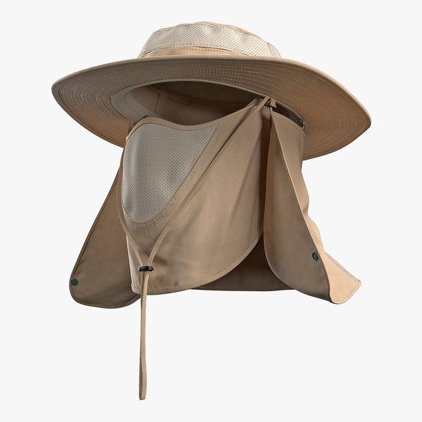 3D model khaki outdoor fishing hat