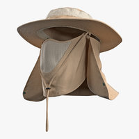 3D model khaki outdoor fishing hat