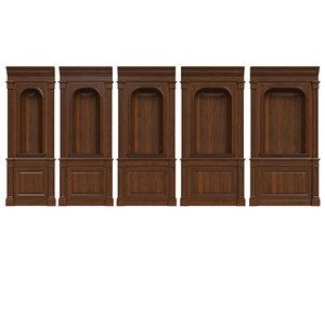 3D wooden panels wood niche model