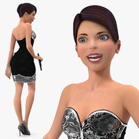 cartoon young girl party 3D model