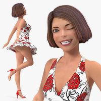 Cartoon Young Girl Romantic Dress Rigged