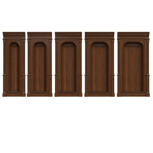 3D wooden panels wood niche model