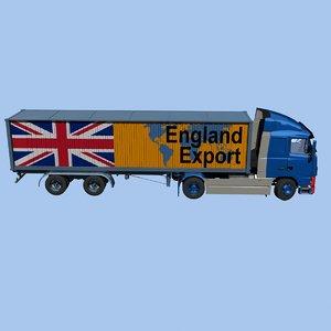 3D truck semi trailer international model