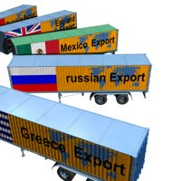 Semi-trailer truck, international export container carrier from 8 countries,