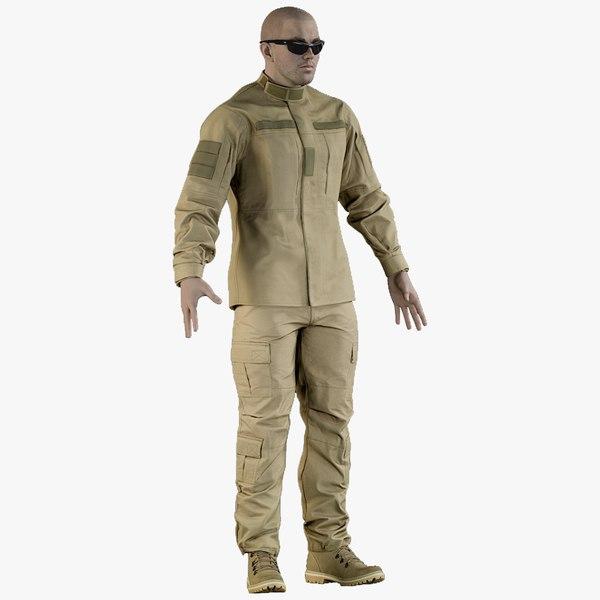 3D model realistic soldier uniform desert