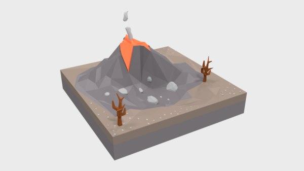 cartoon volcano scene model