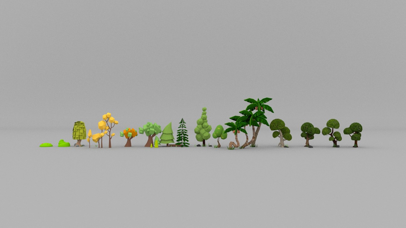 Cartoon Trees 3d Model Turbosquid 1439053 New users enjoy 60% off. cartoon tree collection