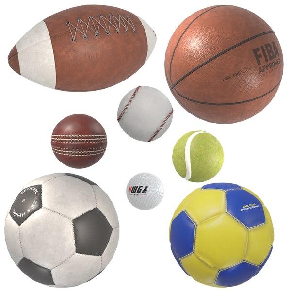 3D model realistic sport balls