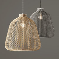 Natural and Grey Chevron Rattan Shade