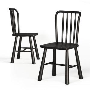scandinavian dining chairs oak wood 3D model