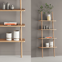 3D contemporary shelf oak display