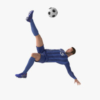 soccer player bicycle kick 3D