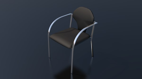 3D dark leather office chair