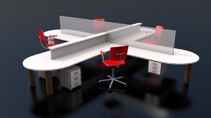 3D startup office division complete model
