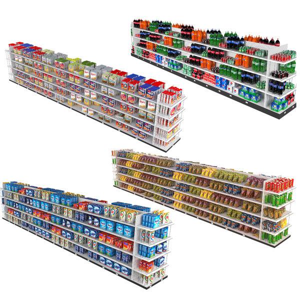 3D model supermarket shelving 4