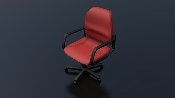 red typist office chair 3D model