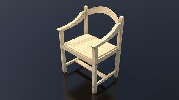 3D light wood chair clean model