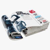 magazines open set 8 3D model
