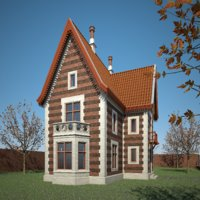 3D old house building interior model