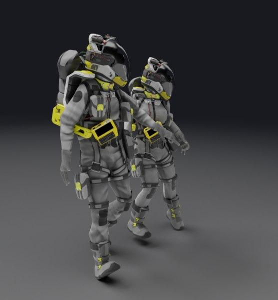 3D male female rigged model