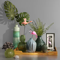 flamingo tropical vase bottle 3D model