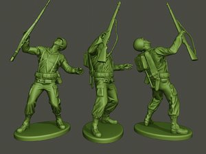 3D model american soldier ww2 shooted