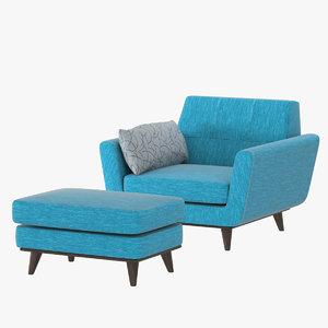 3D realistic joybird chair ottoman