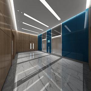modern elevator lobby scene 3D model