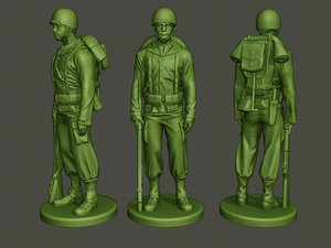 american soldier ww2 stand 3D model