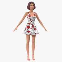3D model cartoon young girl romantic
