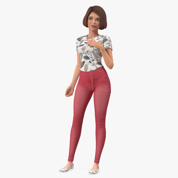 3D model cartoon young girl standing