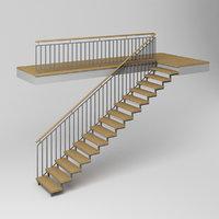 3D modern stairs wood model