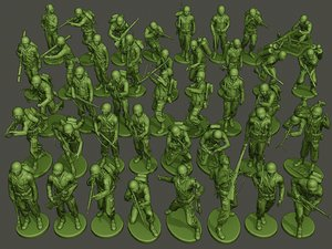 3D american soldiers ww2 pack model