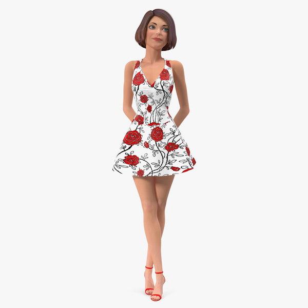 cartoon young girl summer 3D model