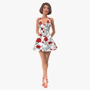 cartoon young girl summer 3D model