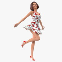 cartoon young girl romantic 3D model
